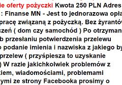 Oferta.org.pl – pobiera opłatę 250zł za przygotowanie pożyczki